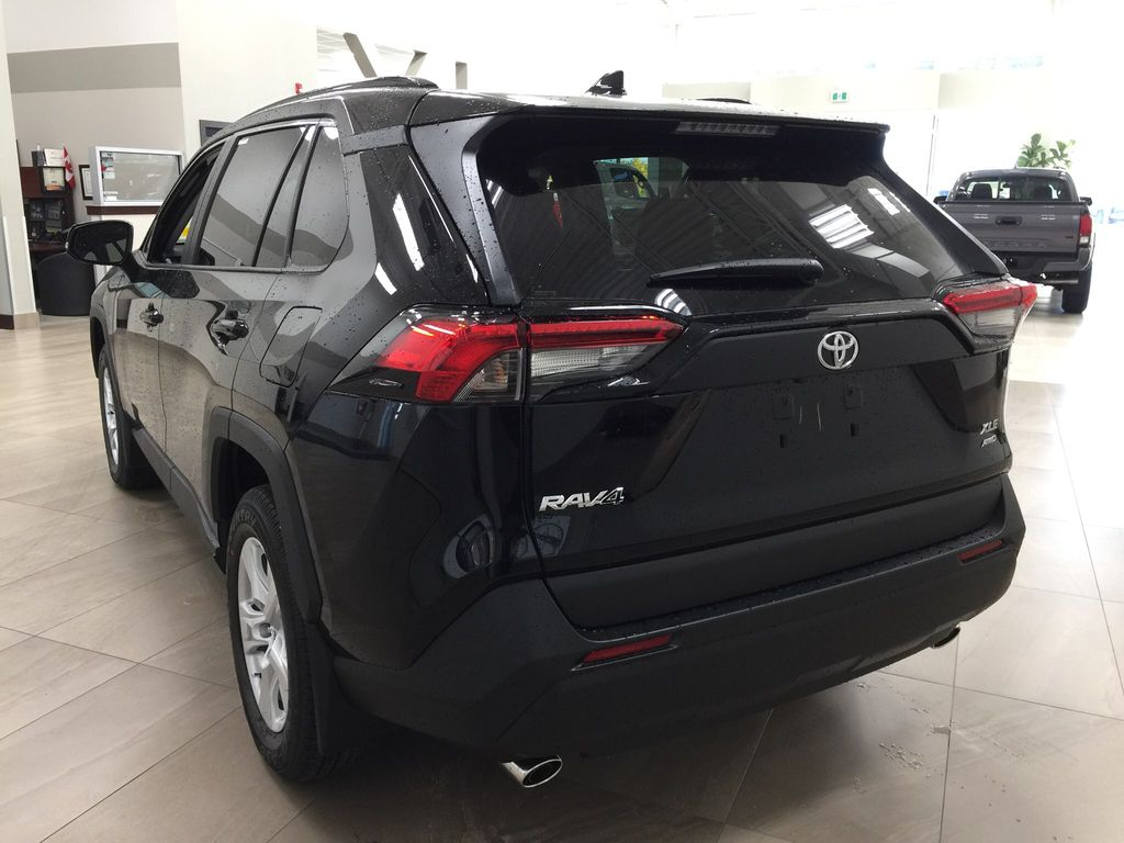 Black[Midnight Black Metallic] 2021 Toyota RAV4 XLE AWD Left Rear Corner Photo in Sherwood Park AB