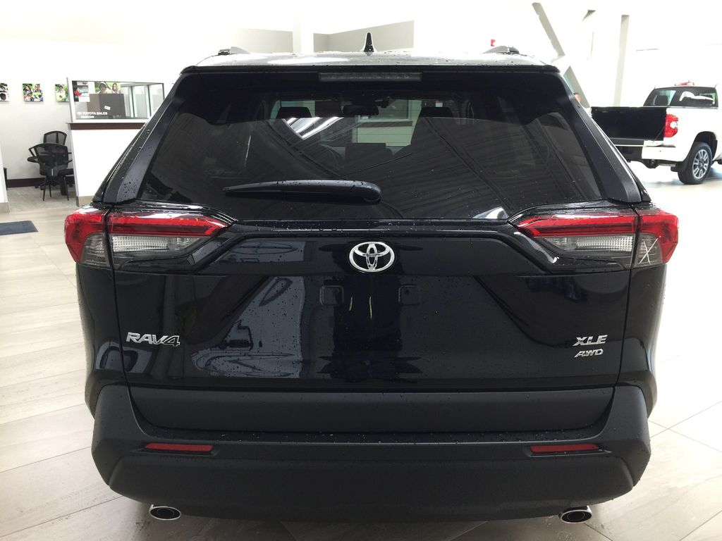 Black[Midnight Black Metallic] 2021 Toyota RAV4 XLE AWD Rear of Vehicle Photo in Sherwood Park AB