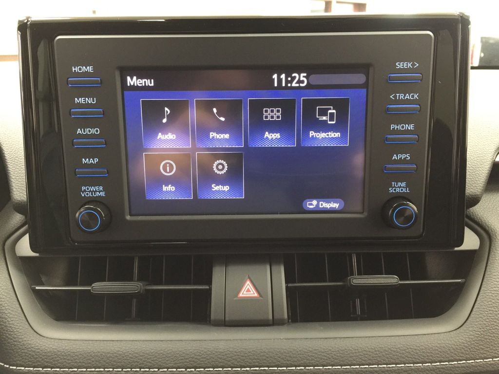 Black[Midnight Black Metallic] 2021 Toyota RAV4 XLE AWD Infotainment Closeup Photo in Sherwood Park AB