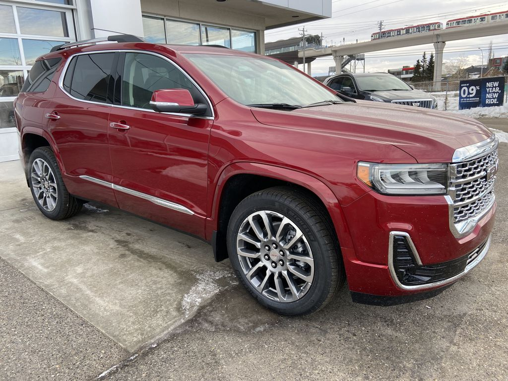 Red[Cayenne Red Tintcoat] 2021 GMC Acadia Denali Right Front Corner Photo in Calgary AB