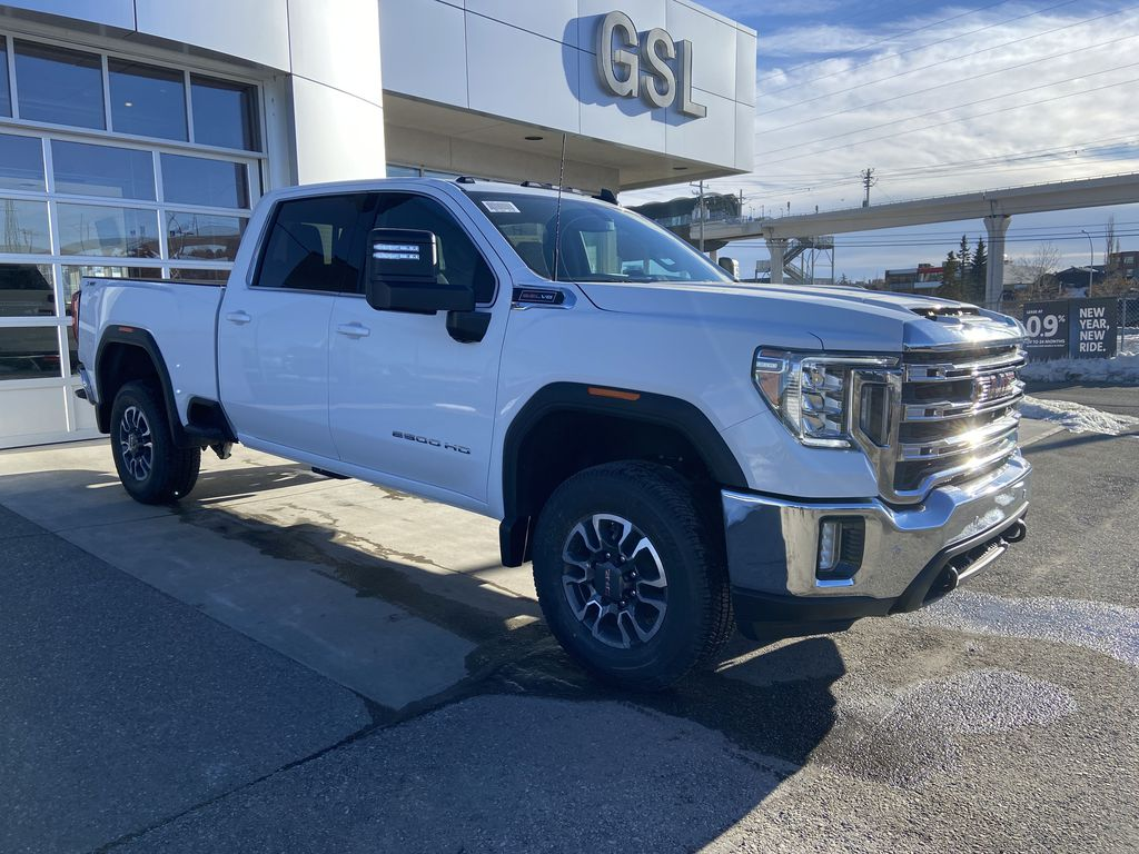 White[Summit White] 2021 GMC Sierra 2500HD SLE Right Front Corner Photo in Calgary AB