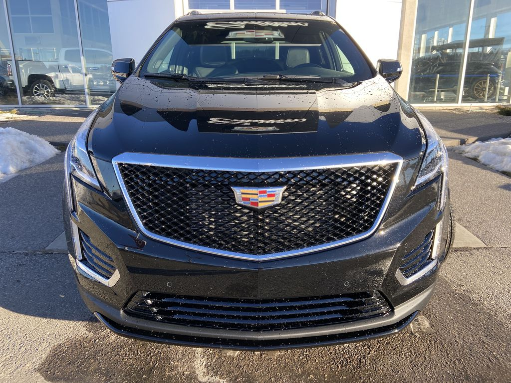 Black[Stellar Black Metallic] 2021 Cadillac XT5 Sport Front Vehicle Photo in Calgary AB