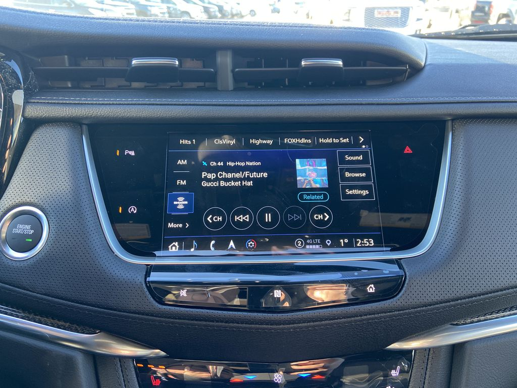 Black[Stellar Black Metallic] 2021 Cadillac XT5 Sport Radio Controls Closeup Photo in Calgary AB