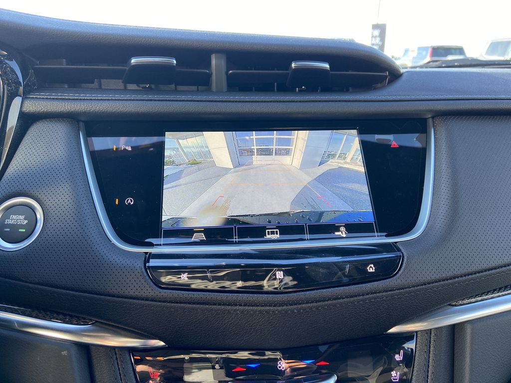 Black[Stellar Black Metallic] 2021 Cadillac XT5 Sport Backup Camera Closeup Photo in Calgary AB