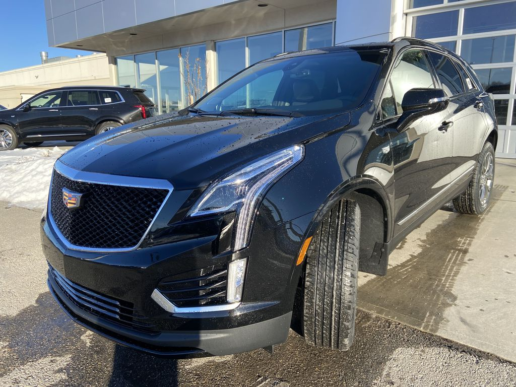 Black[Stellar Black Metallic] 2021 Cadillac XT5 Sport Left Front Head Light / Bumper and Grill in Calgary AB