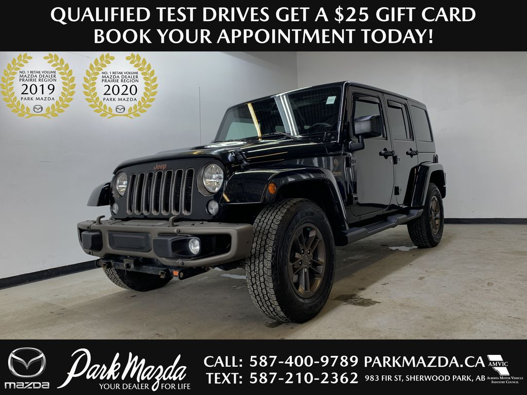 BLACK 2016 Jeep Wrangler Unlimited 75th Anniversary - NAV, Remote Start, Heated Seats