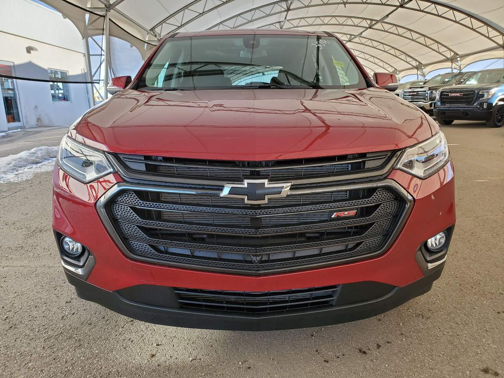 Red 2021 Chevrolet Traverse Left Front Corner Photo in Airdrie AB