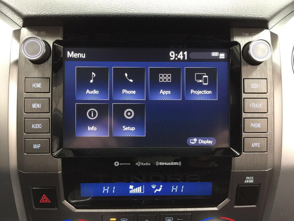 White[Super White] 2021 Toyota Tundra TRD Off-Road Infotainment Closeup Photo in Sherwood Park AB
