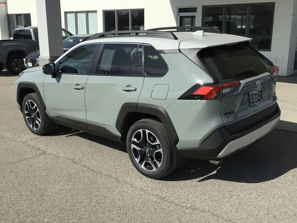 Gray[Lunar Rock/Ice Edge Roof] 2021 Toyota RAV4 Left Rear Corner Photo in Kelowna BC