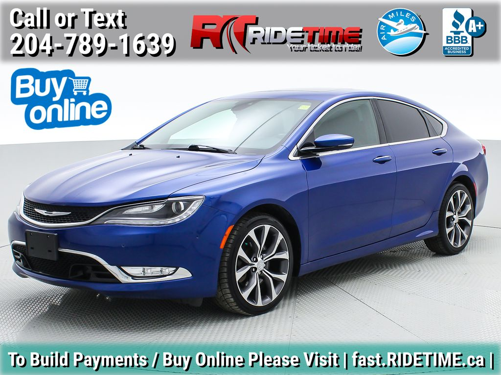 Blue[Vivid Blue Pearl] 2015 Chrysler 200 C - Leather, Panoramic Roof, Adaptive Cruise, SiriusXM