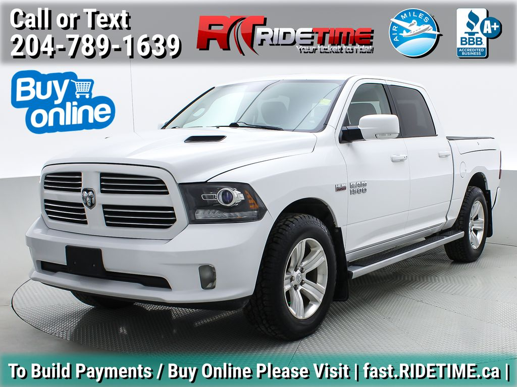 White[Bright White Clearcoat] 2014 Ram 1500 Sport 4WD - Crew Cab, Sunroof, Leather, RamBox