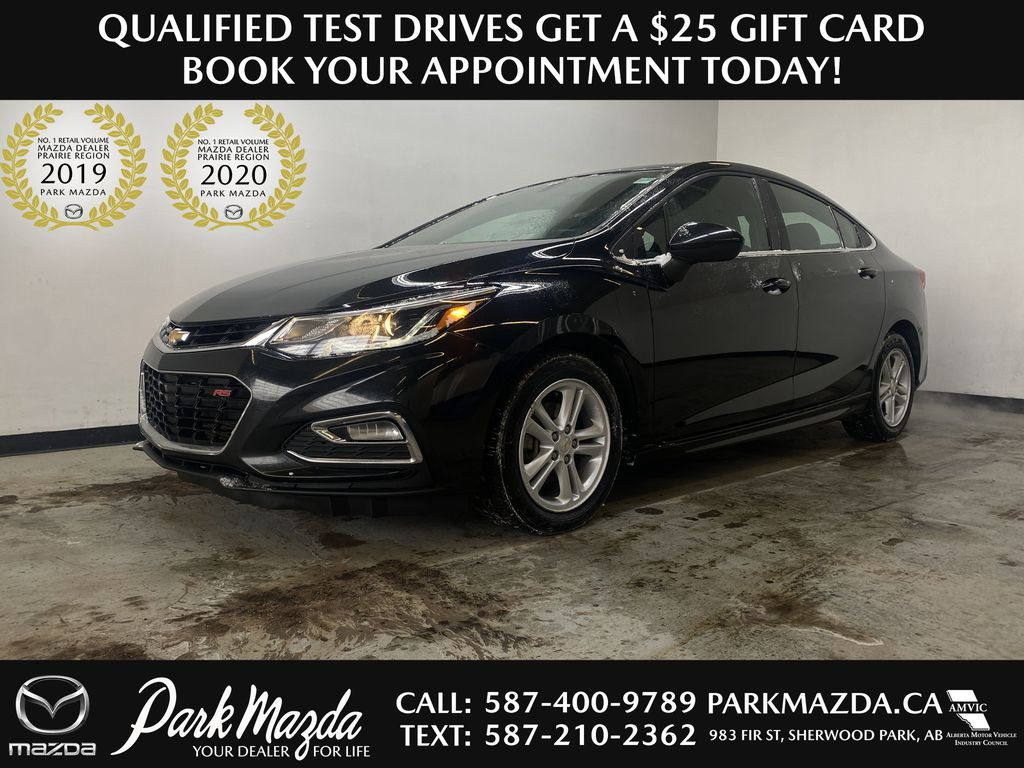 BLACK 2016 Chevrolet Cruze LT - Apple CarPlay, Heated Front Seats, Remote Start