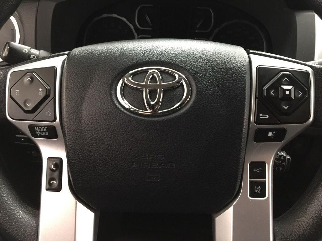 Black[Midnight Black Metallic] 2018 Toyota Tundra TRD Off-Road Double Cab 4WD Steering Wheel and Dash Photo in Sherwood Park AB