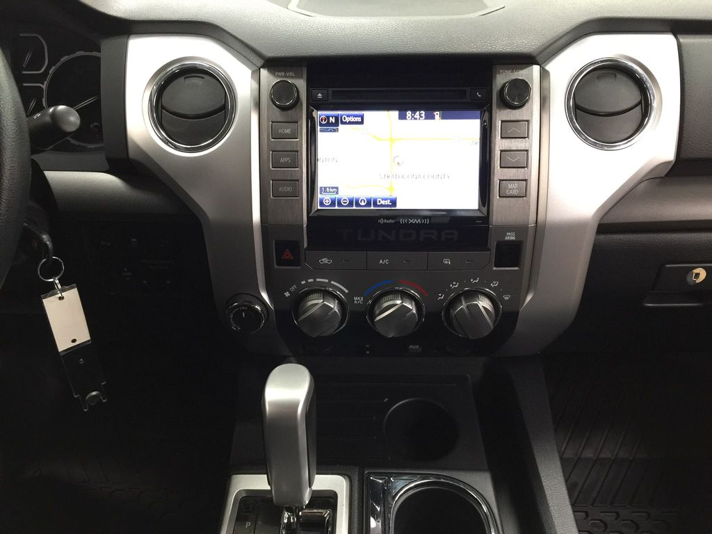 Black[Midnight Black Metallic] 2018 Toyota Tundra TRD Off-Road Double Cab 4WD Central Dash Options Photo in Sherwood Park AB