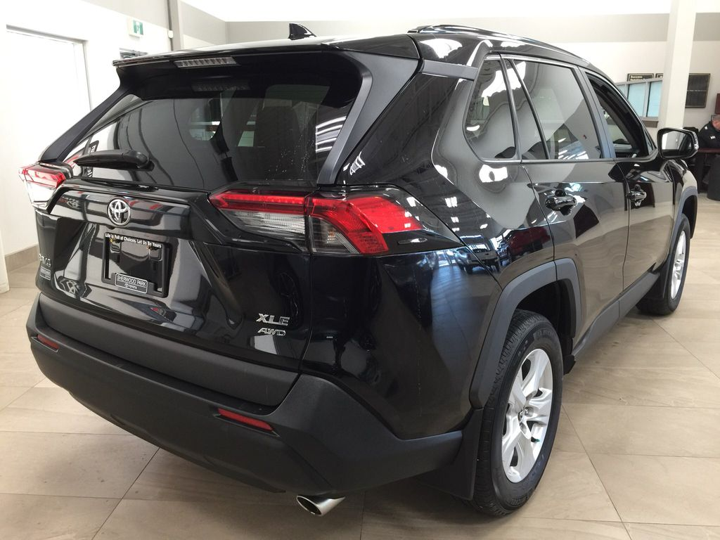 Black[Midnight Black Metallic] 2019 Toyota RAV4 XLE AWD Right Rear Corner Photo in Sherwood Park AB