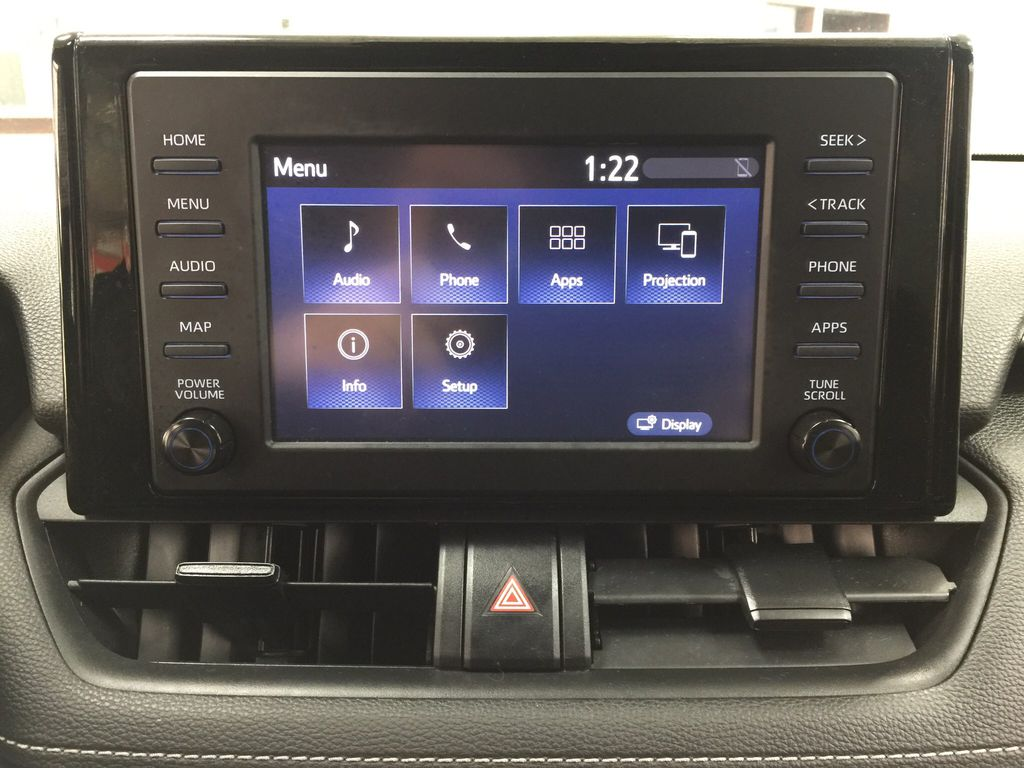 Black[Midnight Black Metallic] 2019 Toyota RAV4 XLE AWD Infotainment Closeup Photo in Sherwood Park AB
