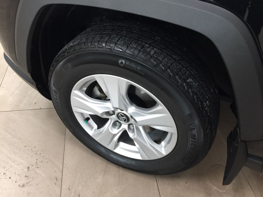 Black[Midnight Black Metallic] 2019 Toyota RAV4 XLE AWD Left Front Rim and Tire Photo in Sherwood Park AB