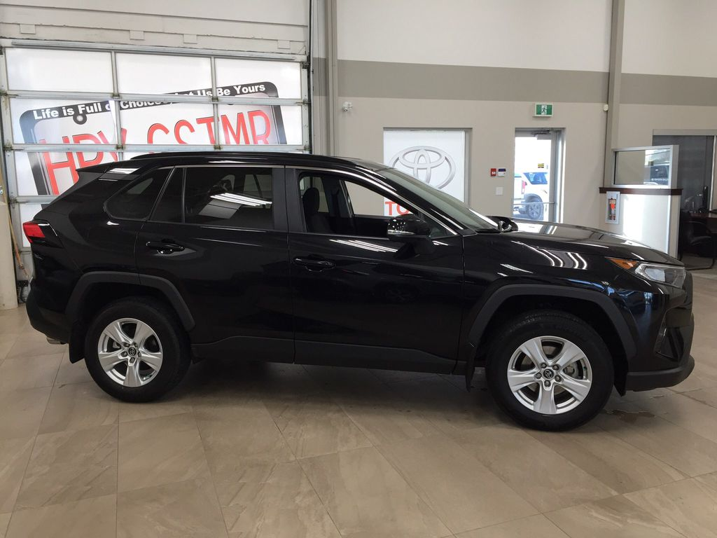 Black[Midnight Black Metallic] 2019 Toyota RAV4 XLE AWD Right Side Photo in Sherwood Park AB