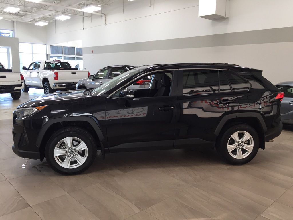 Black[Midnight Black Metallic] 2019 Toyota RAV4 XLE AWD Left Side Photo in Sherwood Park AB
