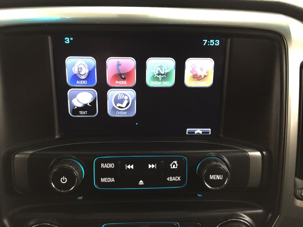 Red[Victory Red] 2015 Chevrolet Silverado 1500 LT Infotainment Closeup Photo in Sherwood Park AB