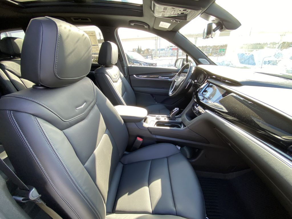 Black[Stellar Black Metallic] 2021 Cadillac XT6 Sport Right Side Front Seat  Photo in Calgary AB
