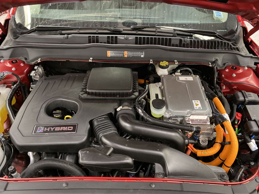 Red[Rapid Red Metallic Tinted Clearcoat] 2020 Ford Fusion Hybrid Engine Compartment Photo in Dartmouth NS