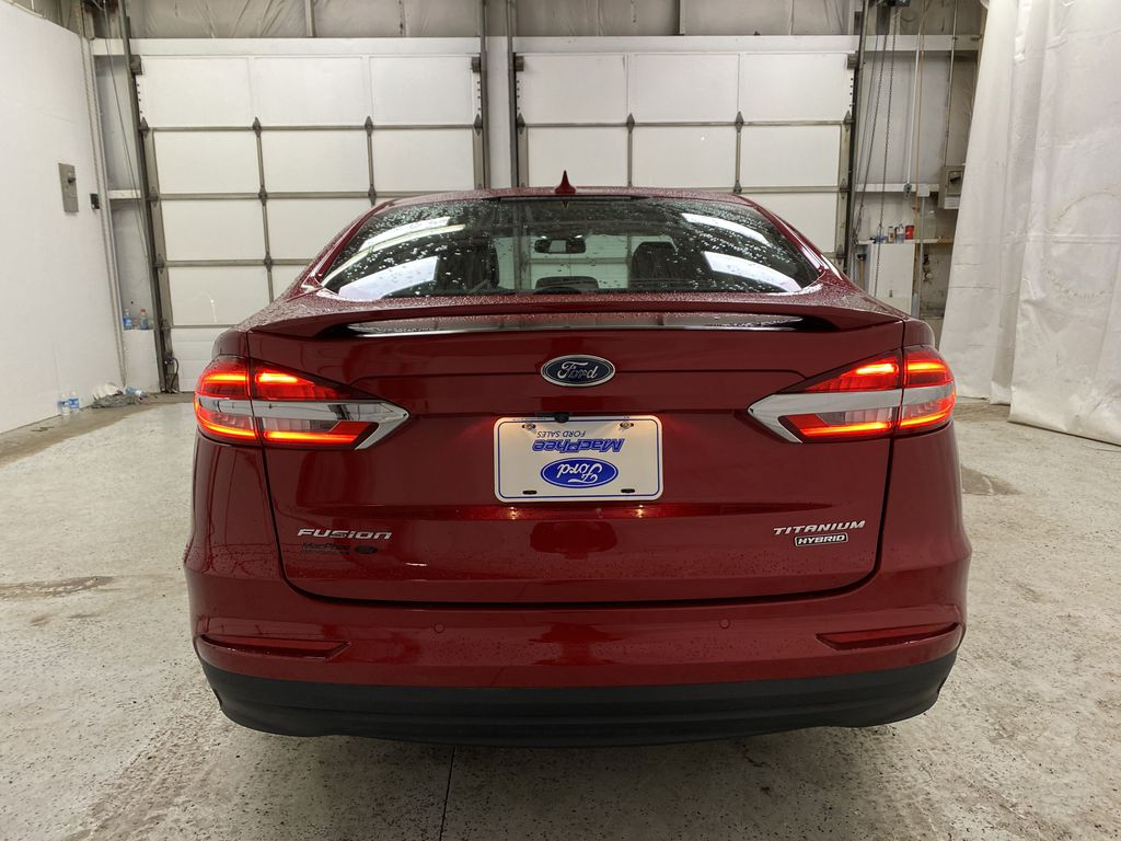 Red[Rapid Red Metallic Tinted Clearcoat] 2020 Ford Fusion Hybrid Rear of Vehicle Photo in Dartmouth NS