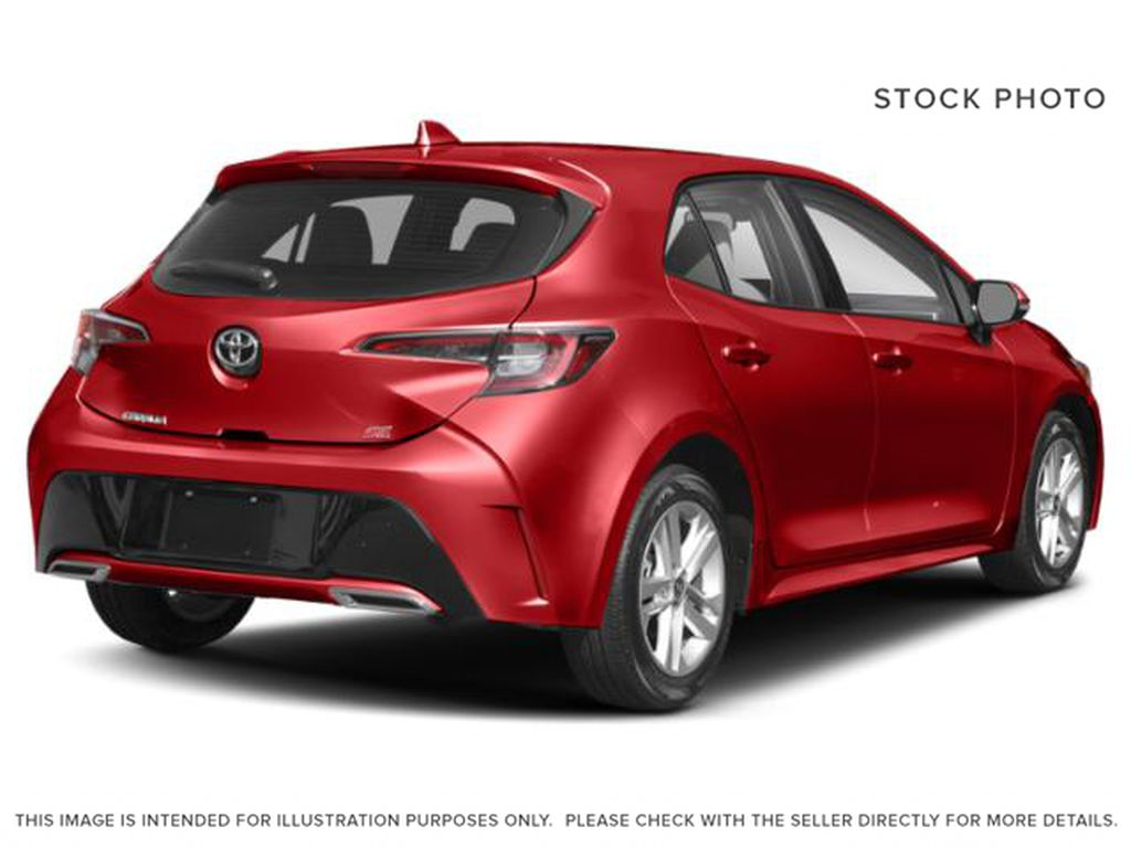 Red[Supersonic Red  w/Black Roof] 2021 Toyota Corolla Hatchback Right Rear Corner Photo in Kelowna BC