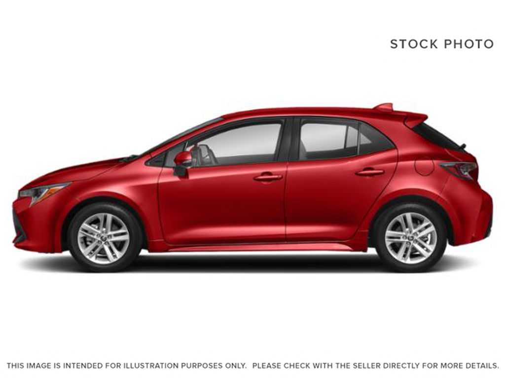 Red[Supersonic Red  w/Black Roof] 2021 Toyota Corolla Hatchback Left Side Photo in Kelowna BC