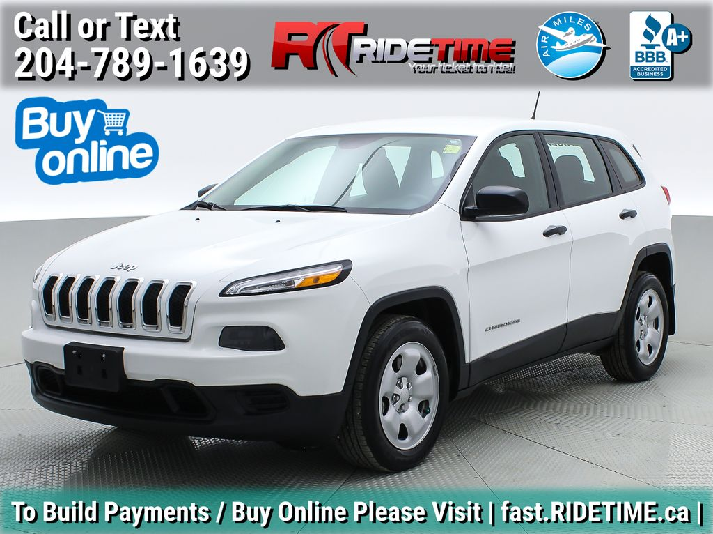 White[Bright White] 2016 Jeep Cherokee Sport - Bluetooth, Cruise Control, SUPER LOW KMs
