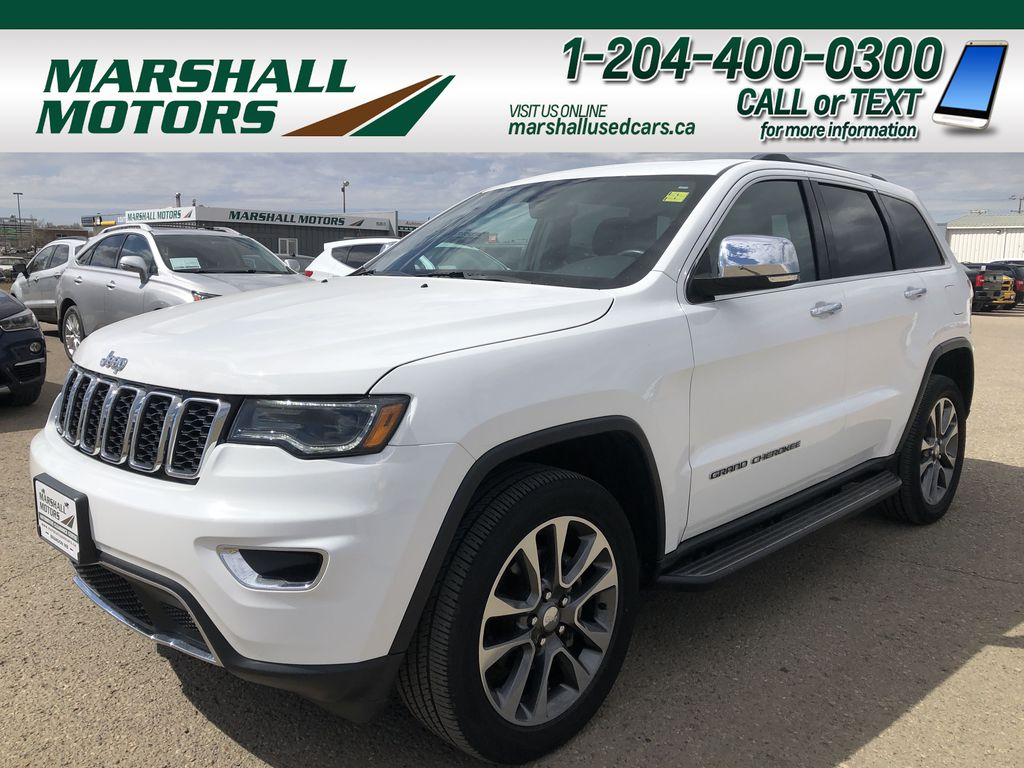 White[Bright White] 2018 Jeep Grand Cherokee Limited *Vented Seats* *Panoramic Sunroof*