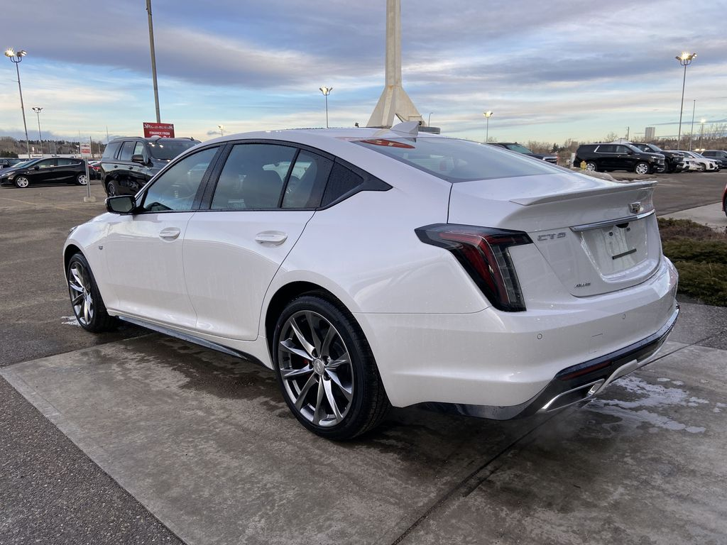 White[Crystal White Tricoat] 2021 Cadillac CT5 Sport Left Rear Corner Photo in Calgary AB