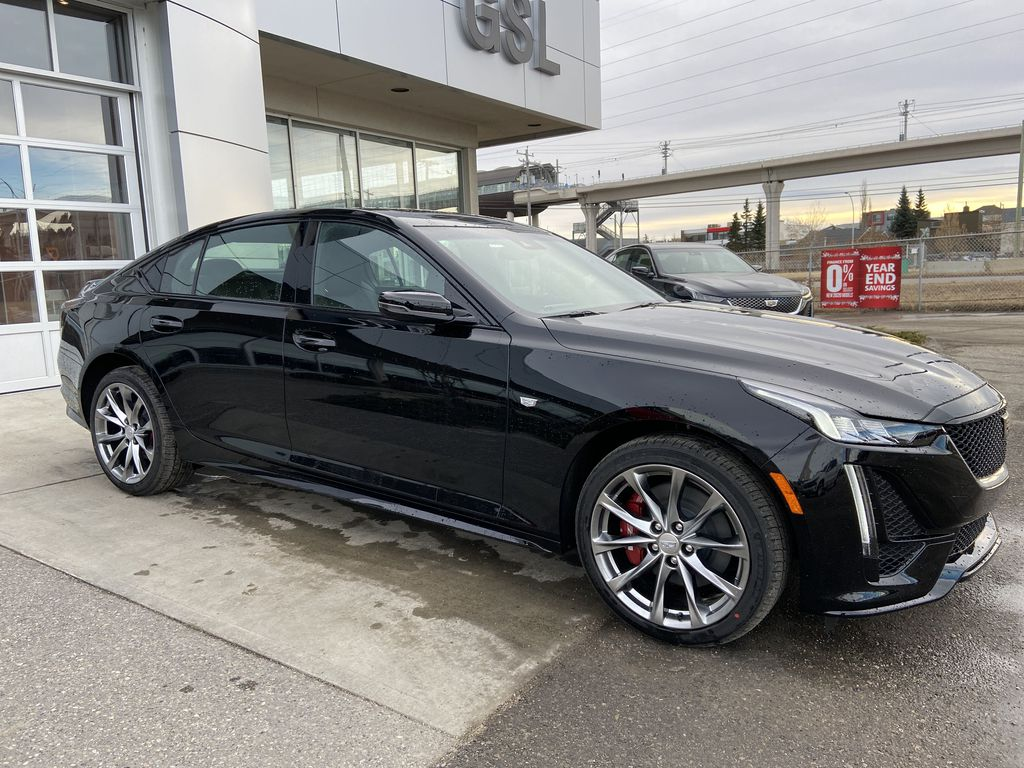 Black[Black Raven] 2021 Cadillac CT5 Sport Right Front Corner Photo in Calgary AB
