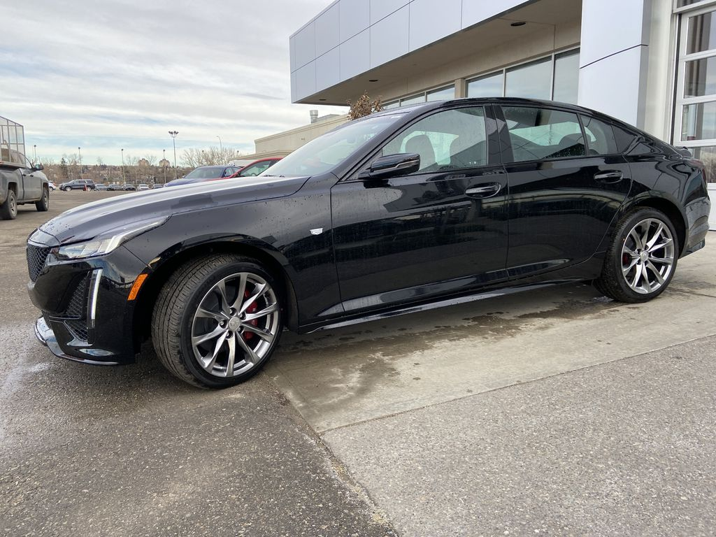Black[Black Raven] 2021 Cadillac CT5 Sport Left Front Corner Photo in Calgary AB