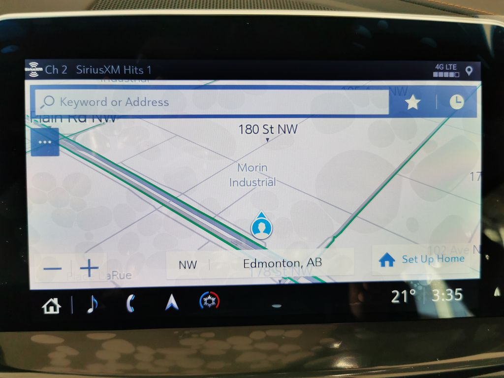 Red[Infrared Tintcoat] 2021 Cadillac CT5 Navigation Screen Closeup Photo in Edmonton AB