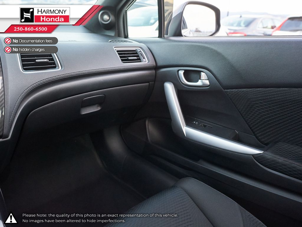 Black - Crystal Black Pearl 2013 Honda Civic Coupe Right Side Rear Seat  Photo in Kelowna BC