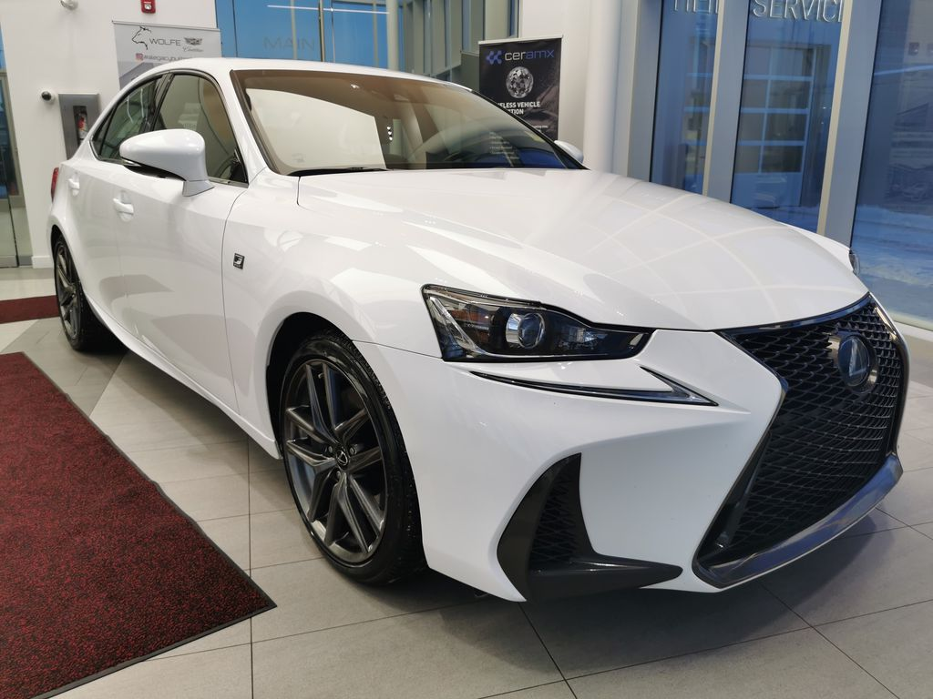 White[Eminent White Pearl] 2018 Lexus IS Right Front Corner Photo in Edmonton AB