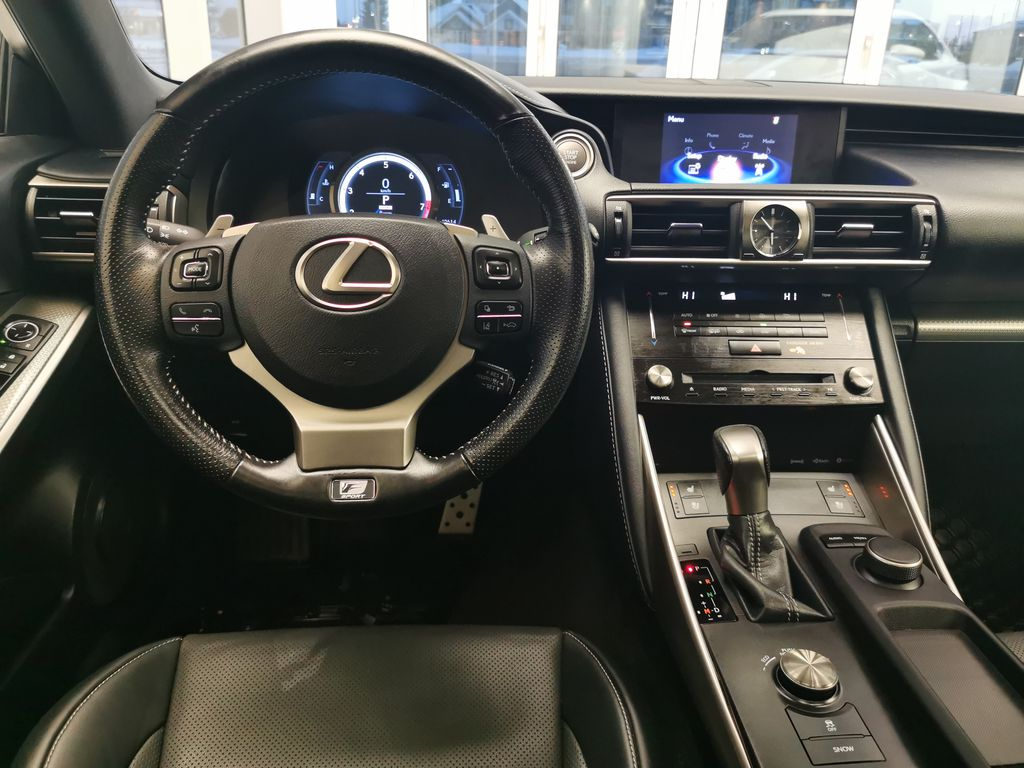 White[Eminent White Pearl] 2018 Lexus IS Strng Wheel/Dash Photo: Frm Rear in Edmonton AB