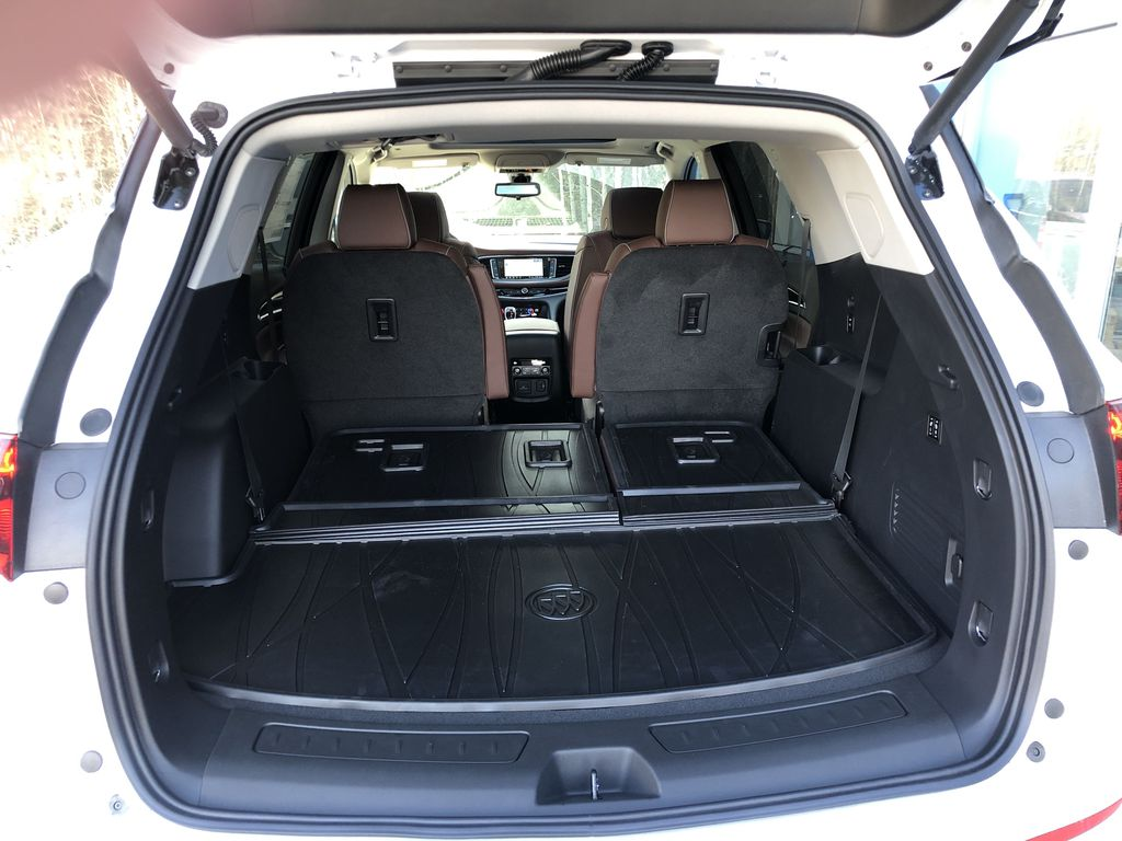 White[White Frost Tricoat] 2021 Buick Enclave Avenir Trunk / Cargo Area Photo in Canmore AB