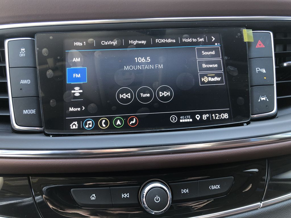 White[White Frost Tricoat] 2021 Buick Enclave Avenir Radio Controls Closeup Photo in Canmore AB