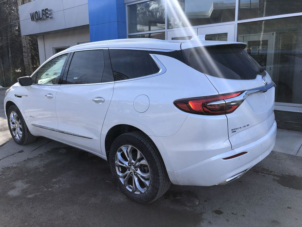 White[White Frost Tricoat] 2021 Buick Enclave Avenir Left Rear Corner Photo in Canmore AB