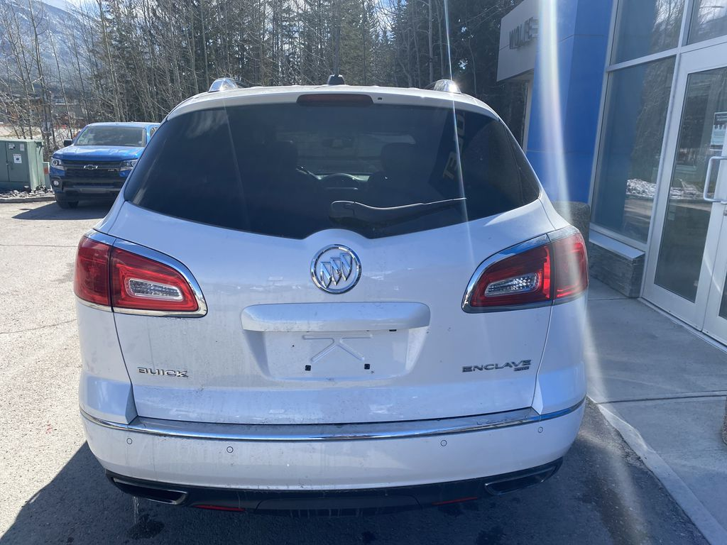 White[White Frost Tricoat] 2017 Buick Enclave Rear of Vehicle Photo in Canmore AB