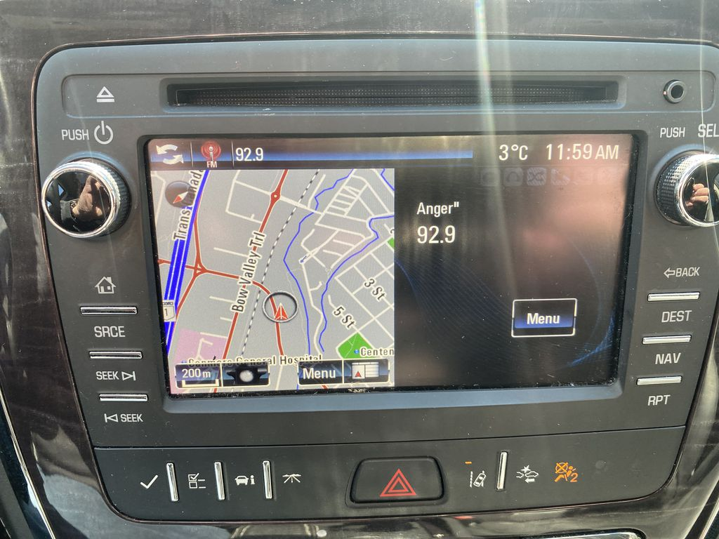 White[White Frost Tricoat] 2017 Buick Enclave Navigation Screen Closeup Photo in Canmore AB