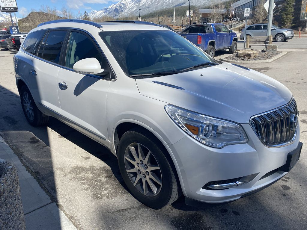 White[White Frost Tricoat] 2017 Buick Enclave Right Front Corner Photo in Canmore AB