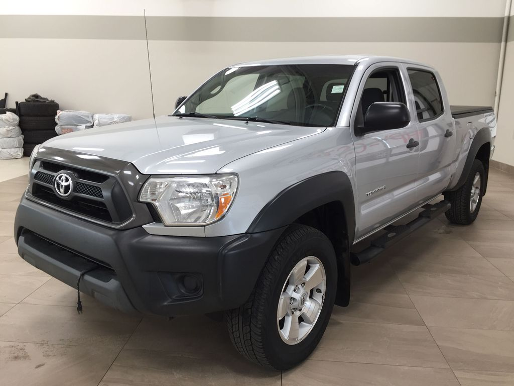 Silver[Silver Streak Mica] 2012 Toyota Tacoma SR5 Double Cab 4x4 Left Front Corner Photo in Sherwood Park AB