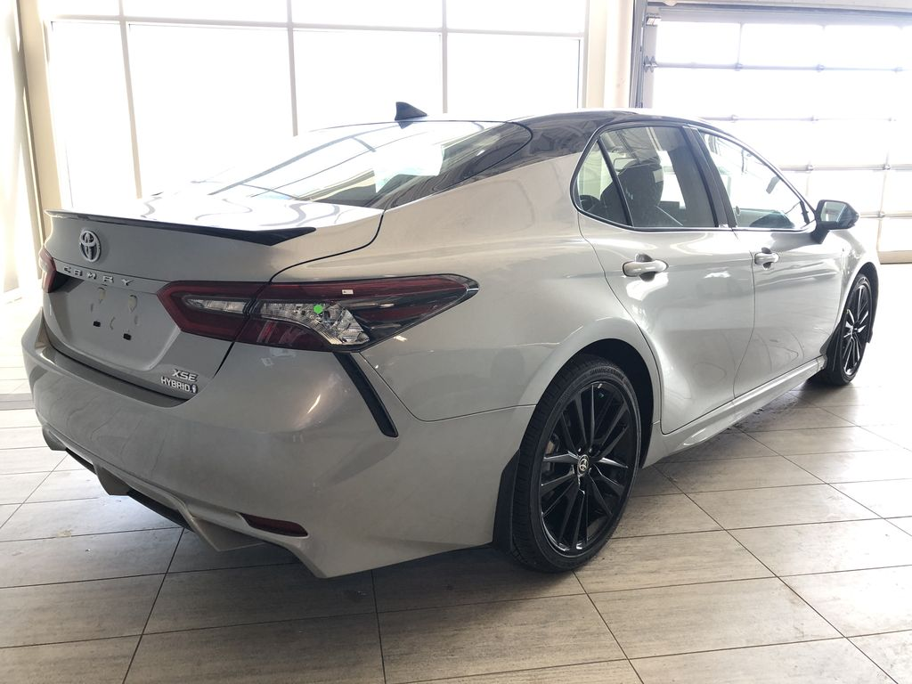 Celestial Silver Metallic 2021 Toyota Camry Hybrid XSE Rear of Vehicle Photo in Edmonton AB