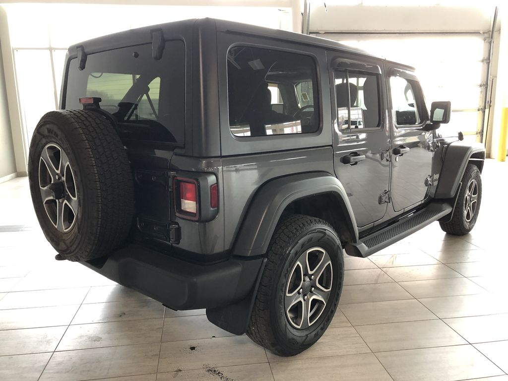 Grey 2020 Jeep Wrangler Unlimited Sport S Rear of Vehicle Photo in Edmonton AB