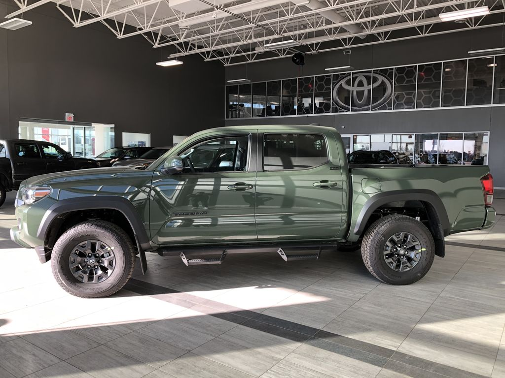 Army Green 2021 Toyota Tacoma 4WD Double Cab Trail (Short Box) Left Side Photo in Edmonton AB