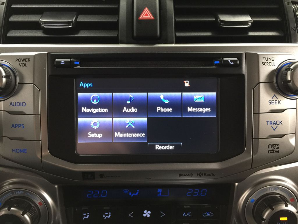 Gray[Magnetic Grey Metallic] 2018 Toyota 4Runner LIMITED Infotainment Closeup Photo in Sherwood Park AB