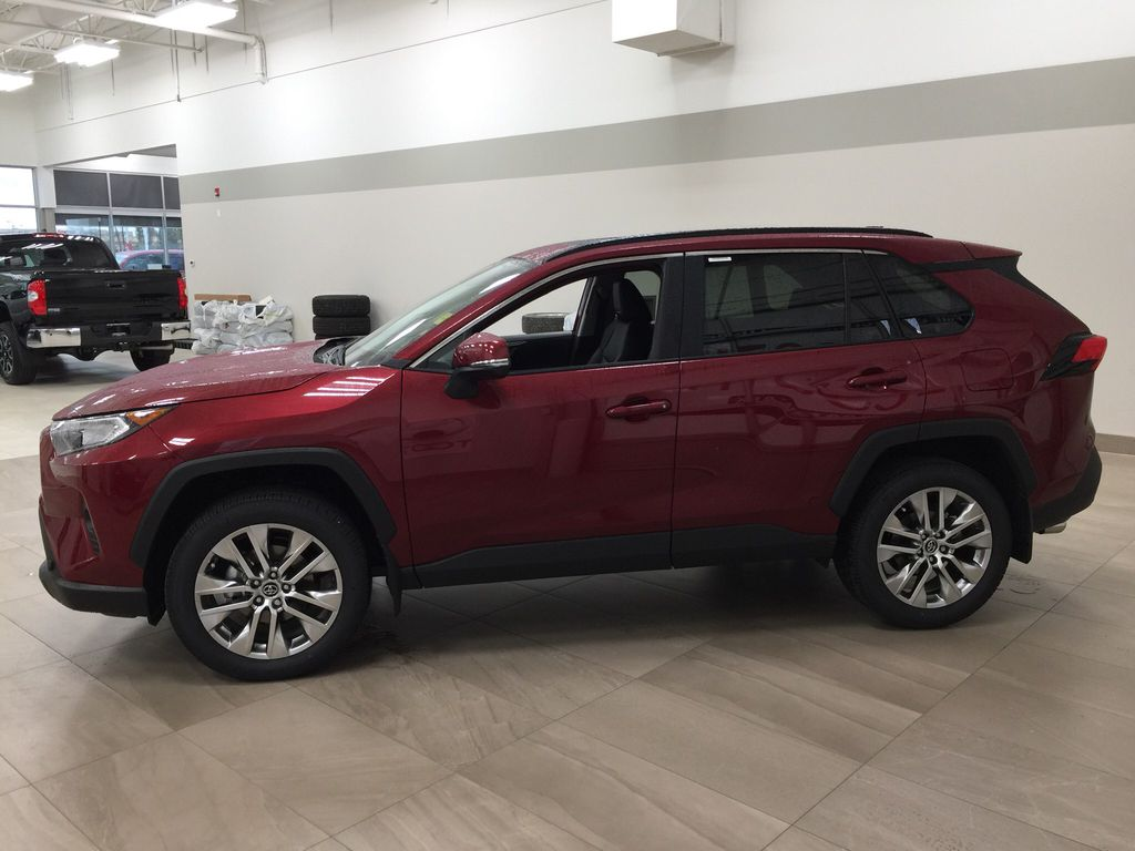 Red[Ruby Flare Pearl] 2021 Toyota RAV4 XLE Premium Left Side Photo in Sherwood Park AB